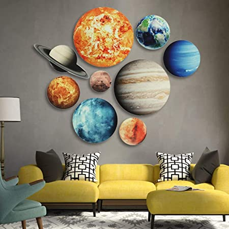 Bright Solar System Wall Stickers,Glowing Ceiling Decals for Bedroom Living Room- Sun Earth Mars,Stars,Shooting Stars 10 Pcs Glow in The Dark Stars and Planets 19 x 27.5cm