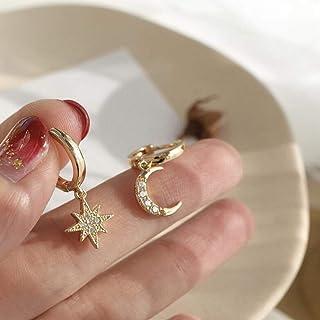Classic Geometric Women Dangle Earrings Asymmetric Earrings of Star and Moon Female Korean Jewelry