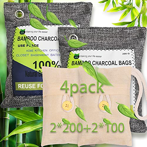 RUN HELIX Bamboo Charcoal Air Purifying Bag, 4 Pack Natural Activated Air Purifying Bag Odor Eliminator Air Freshener Purifier Deodorizer for Home, Closet, Bathroom, Car (2x200g,2x100g)