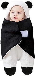 قماط بطانية ناعم للرضع من بينغكيوت، بلون ابيض فاتح واسود، للاولاد والبنات، بتصميم دب ظريف، مخصص لحديثي الولادة