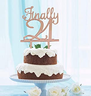 GrantParty Finally 21 Rose Gold Cake Topper |21st Birthday Anniversary Wedding Party Decoration Ideas| Perfect Keepsake (Twenty-one Rose Gold)