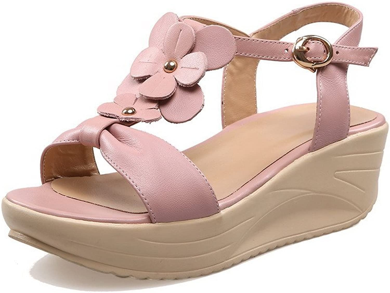 AmoonyFashion Women's Open-Toe Kitten Heels Soft Material Solid Buckle Sandals