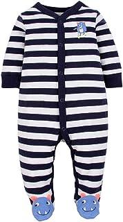 CARETOO Unisex Baby Schlafstrampler Bärchen, Baumwolle Pyjamas Cartoon Strampler
