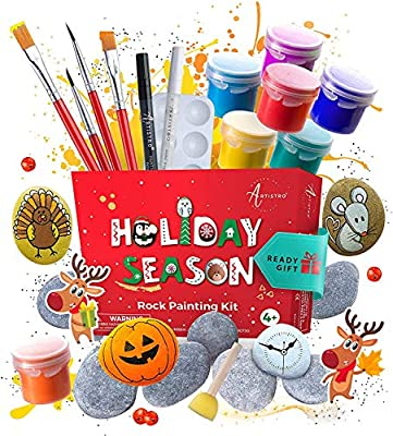 Rock Painting Kit – Rock Art Painting Supplies with 10 Smooth Rocks for Painting, Waterproof Acrylic Paint, Crafts for Kids Ages 4-8 & 8-12 for Hide and Seek, Kindness Rocks, Christmas Gift Idea