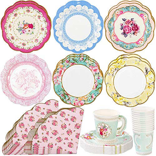 Talking Tables Truly Scrumptious Tea Party Bundle   Vintage Floral Paper Tea Cups and Saucer Sets 12 Count   Pink Scalloped Floral Paper Napkins 20 Pack   Vintage Floral Small Paper Plates 12 Count