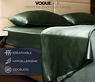 VogueSilk Flat Sheet 100% Natural Hypoallergenic Mulberry Silk. Get The Luxury Sleep Your Skin Deserves in Best Natural Fabric. Protect Skin and Hair at Night! (Emerald Green, King)