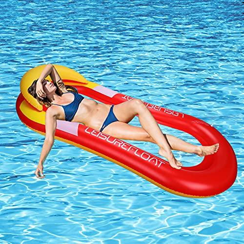 GUBOOM Tumbona Hinchable, hinchables para Piscina Adultos Hamaca Flotante Piscina Tumbona Hamaca Inflable de Agua Tumbona Hinchable Piscina Playa o Piscina Juguete para Adulto y Niño (Rojo)