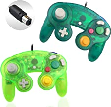 Reiso 2 Packs NGC Controllers Classic Wired Controller for Wii Gamecube(Moss green and Deep green)