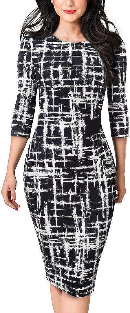 HOMEYEE Women's 3/4 Sleeve Patchwork Business Church Dress B543