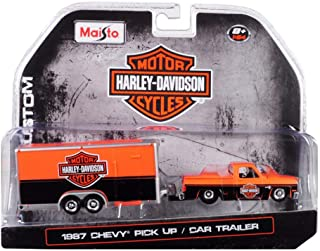 1987 Chevy Pickup Truck with Enclosed Car Trailer, Harley Davidson - Maisto 15363-HD1 - 1/64 Scale Diecast Model Toy Car