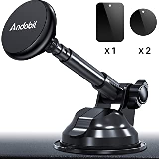 Andobil Magnetic Phone Car Mount, 2019 Universal Hands-Free Phone Holder for Car Dashboard Windshield, Strong Suction Cup Compatible with iPhone 11 Pro MAX X XS XR 8 Plus Samsung S10 S9 Note 10 More
