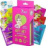 7DAYS Set Cadeau Kit de 7 Masques Soin du Visage Complet pour Une Semaine Pour Tous Types de Peaux Hydratant Anti rides Anti Acnés Anniversaire Noël