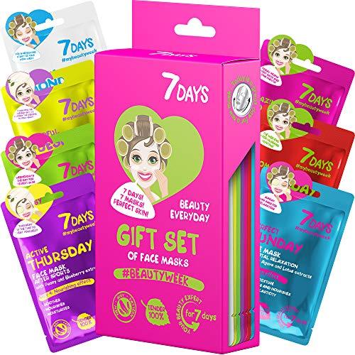 Kit de 7 Mascarillas Faciales Cuidado de Piel Durante una Semana Para Todo Tipo de Piel Hidratación Antiarrugas Antiacné Cumpleaños Navidad   7DAYS