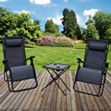 <span class='highlight'>Marko</span> <span class='highlight'>Furniture</span> Grey Zero Gravity Textoline Sun Lounger Set Steel Frame Reclining Chairs Table Garden