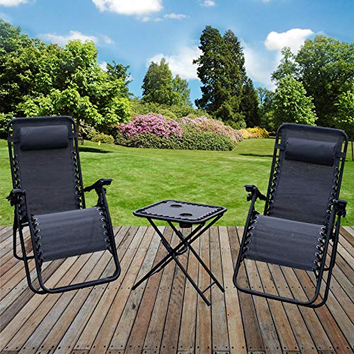 Marko Furniture Grey Zero Gravity Textoline Sun Lounger Set Steel Frame Reclining Chairs Table Garden