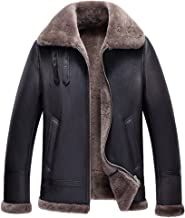 Mens Shearling Coat Men Aviator Jacket Pilot Jacket Mens Fur Coat B3 Sheepskin Outwear