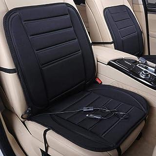 Asiento térmico de 12 V, asiento calefactor, cojín de asiento calefactor, con control de temperatura inteligente, favorece la circulación sanguina, diseño tradicional 3D (negro)