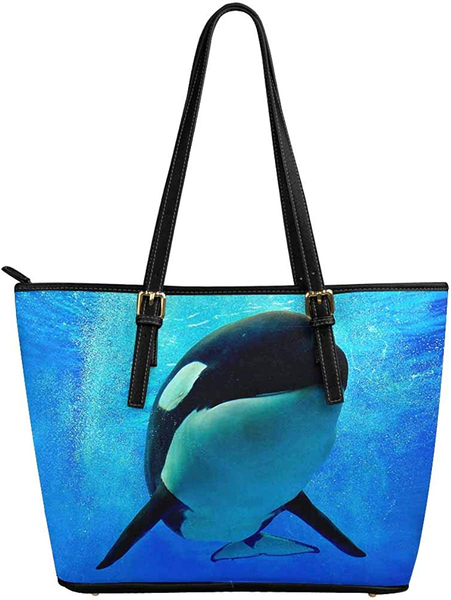 Manufacturer regenerated product InterestPrint Baltimore Mall Custom PU Leather Totes Shoulder Casual Handle Top