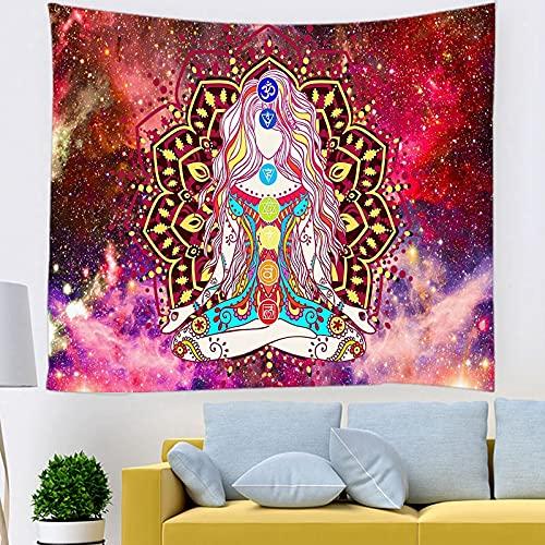 BFDSJU tapizTapiz de meditación de Estatua de Buda Indio para Colgar en la Pared, tapices de Mandala, Tela de Pared, Tapiz de Yoga psicodélico para Colgar en la Pared