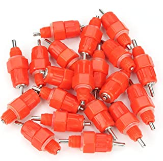 HEEPDD 20Pcs Automatic Water Nipple Drinker Waterer Poultry Chicken Duck Hen Drinking Dispenser Feeder Screw in Style Farming Livestock Feeding Watering Equipment Red