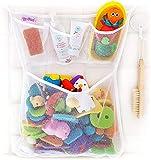 OMZGXGOD - Bad Organizer für Badewannenspielzeug,Badespielzeug Aufbewahrung mit Mehreren Taschen,Badespielzeug Lagerung, Spielzeugnetz mit 4 Selbstklebend Haken