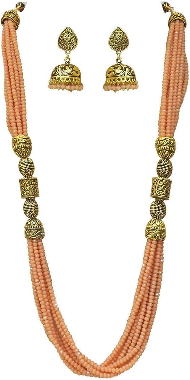 Babosa Sakhi Bollywood Traditional Jaipuri Necklace Peach Beaded Antique String Jewelry Set