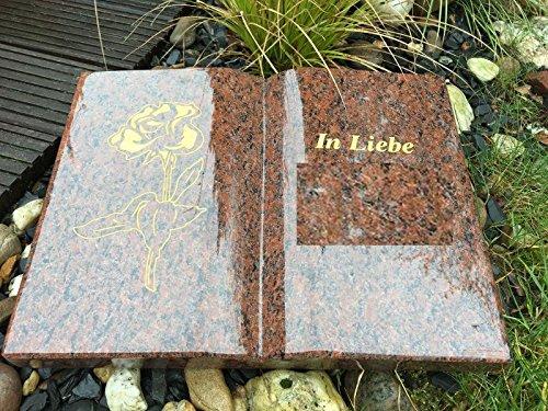 ABC Grabstein Buch 40cm x 30cm x 6cm Liegestein inklusive Gravur Urnenstein Granit Vanga Urnengrab Grabkissen