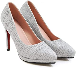 Solid Color Textured High Heels For Banquet Wedding Dress Daily (Color : White, Size : 42)