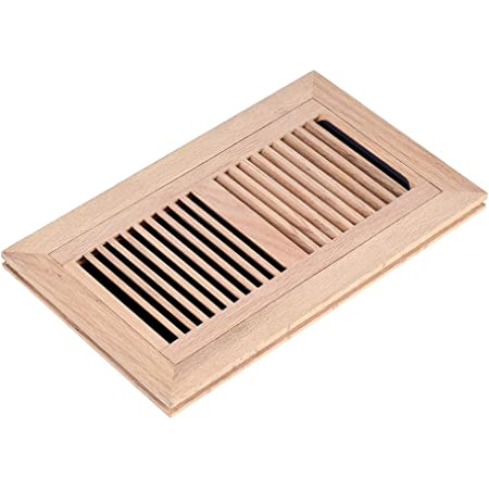 Red Oak Wood Flush Mount Floor Register Vent Cover 2 1 4 X 12 Inch Duct Opening 3 4 Inch Thickness With Damper Unfinished