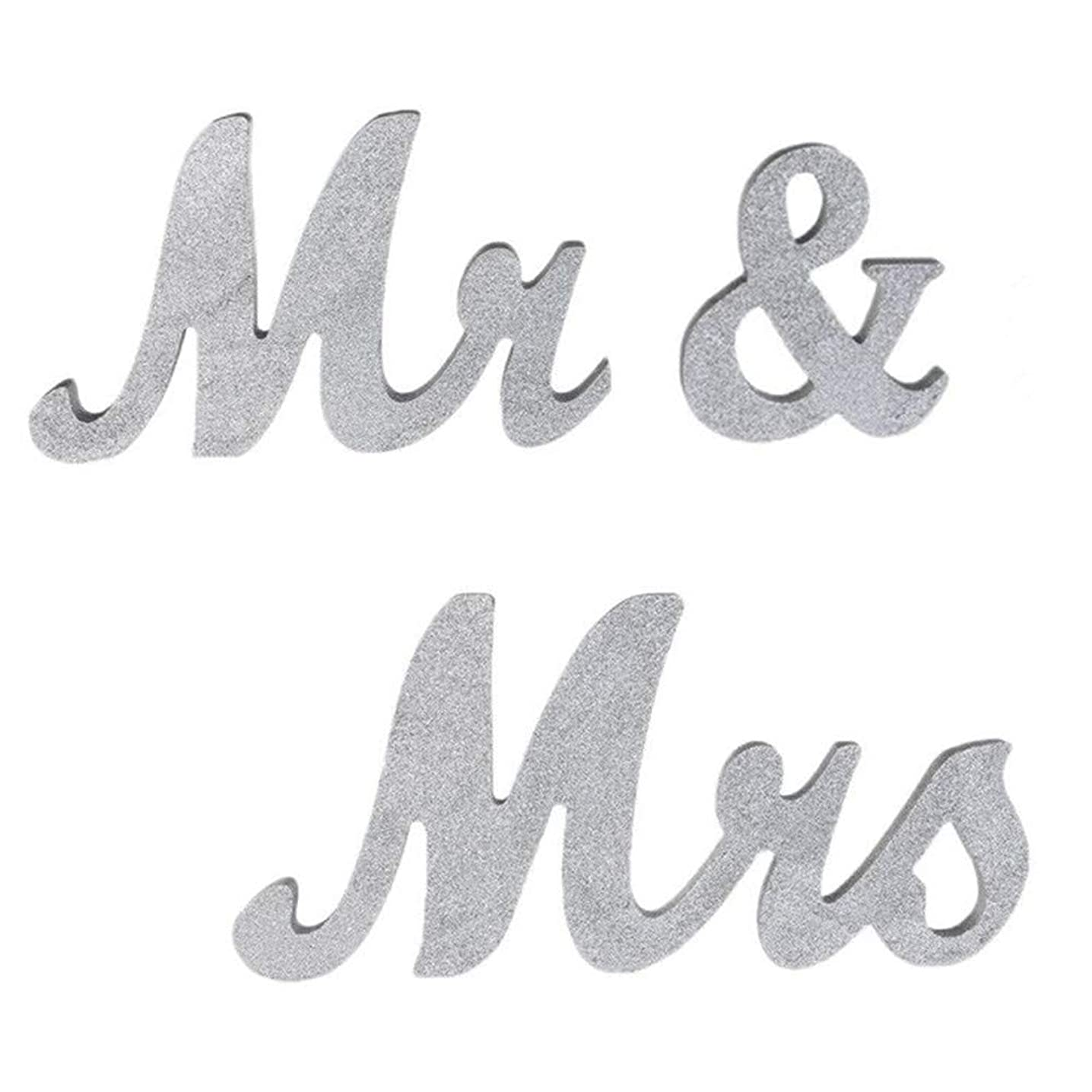 senover Mr and Mrs Sign Wedding Sweetheart Table Decorations,Mr and Mrs Letters Decorative Letters for Wedding Photo Props Party Banner Decoration,Wedding Shower Gift (Silver Glitter) stmibixwm