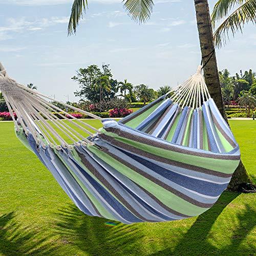 Tenozek Portable Polyester & Cotton Hammock, Soft Comfortable Hammock for Patio, Porch, Garden and Backyard (Green Strip)