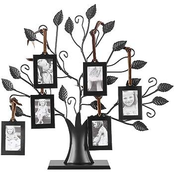 FTVOGUE Las Fotos Familiares de Metal de Moda Muestran el árbol con Marcos de Fotos Colgantes Decoración de Mesa Independiente(S)