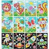 LEMESO 12 Piezas Pegatinas de Mosaicos Manualidad para Niños, Pegatinas EVA de Colores para Dibujos Infantieles, Juego de Relleno Juguete DIY Manualidades, Rompecabezas de Arte, Pintura Hecha a Mano