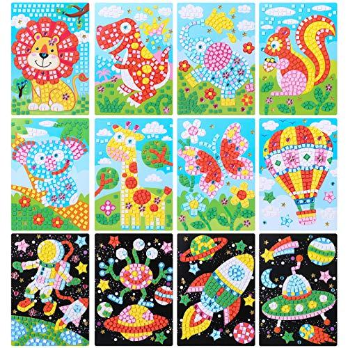 LIHAO 12 Stück Mosaik Set Aufkleber für Kinder Kunst Bastelset Eva DIY handgefertigte Kunst Puzzles für Malerei Handwerk Ausbildung