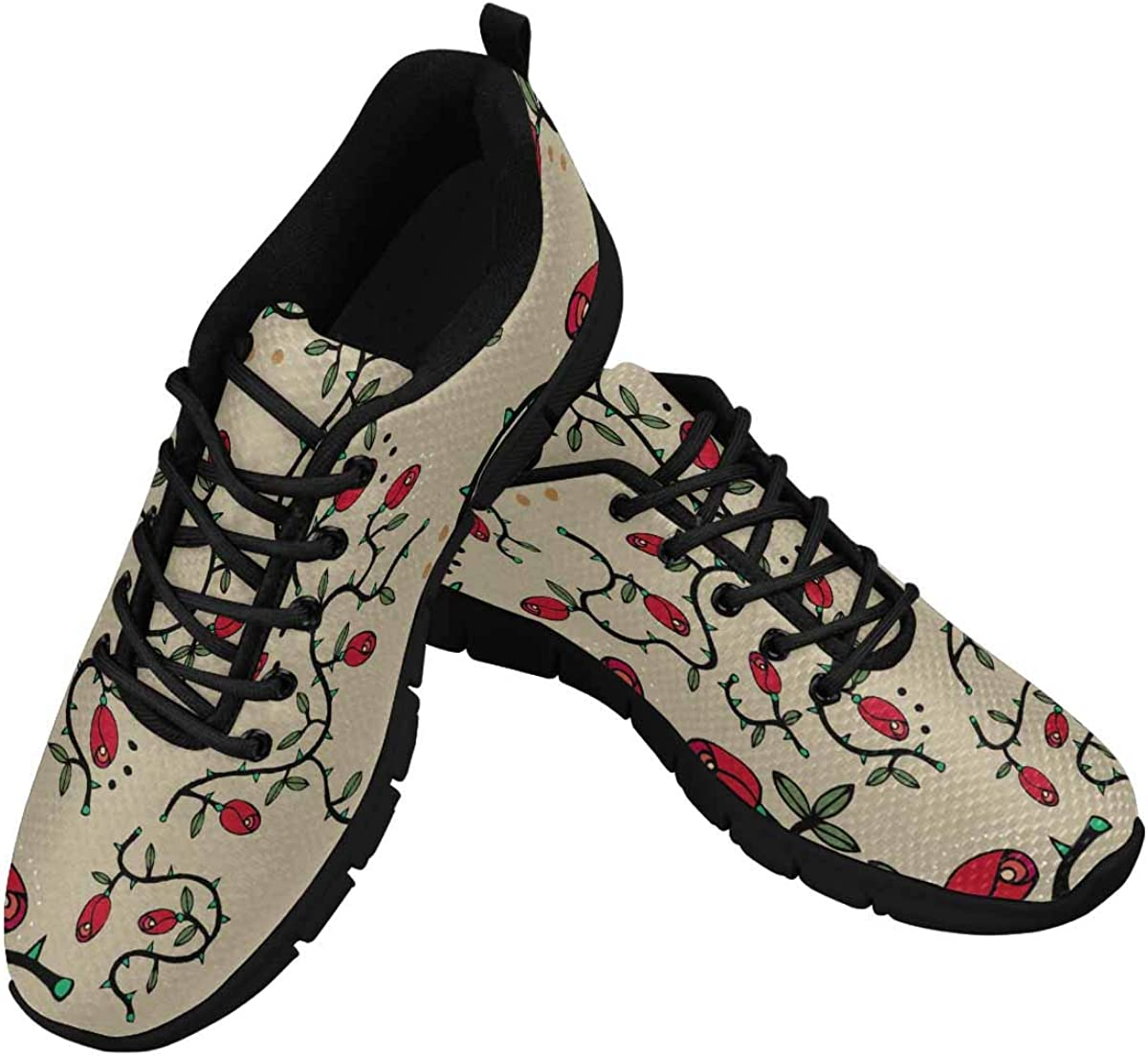 INTERESTPRINT Hand Drawn Pattern with Red Roses Women's Lightweight Athletic Casual Gym Sneakers