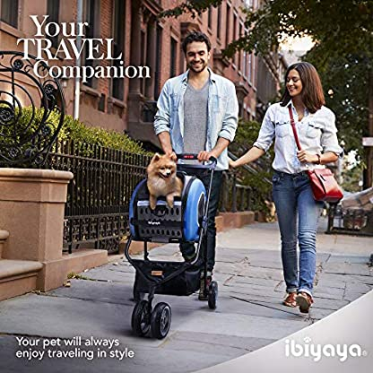 ibiyaya Multifunction Pet Carrier + Backpack + CarSeat + Pet Carrier Stroller + Carriers with Wheels for Dogs and Cats All in ONE (Blue) 7
