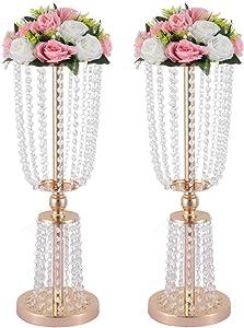 "23.75"" wedding vases centerpieces, 2 Pcs of Gold Wedding Centerpieces, Silver Flower Vases, Metal Centerpiece Vases, Wedding Road-leading Flower Stands, 60cm/23.62"