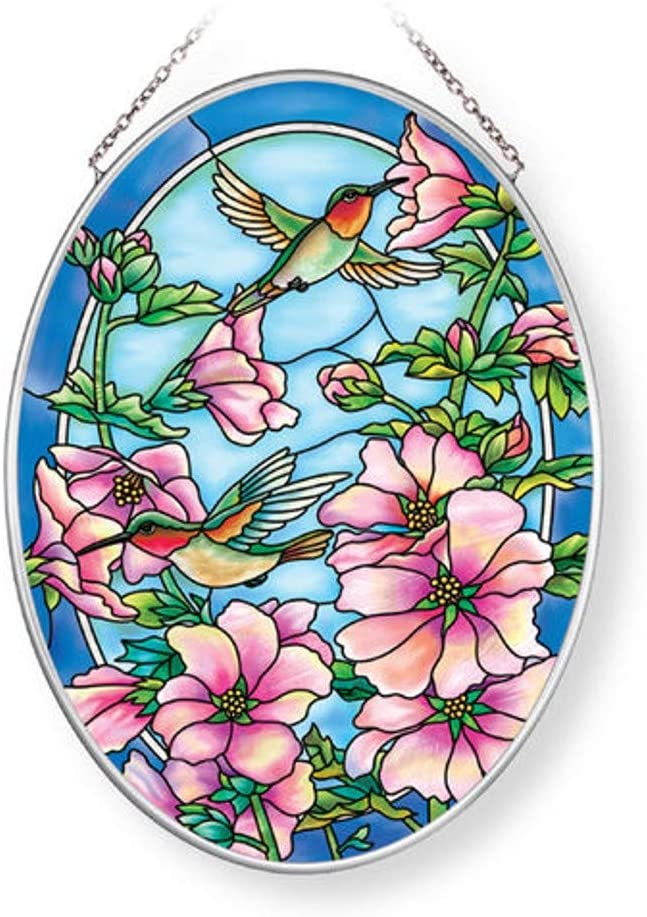 Amia security Hummingbird Hollyhocks Glass Suncatcher Oval Mult In stock Medium
