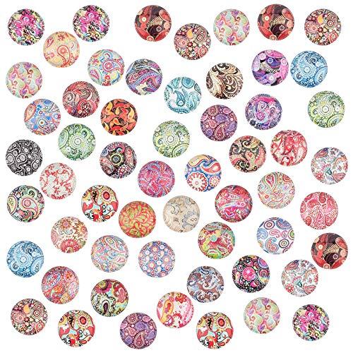 PandaHall 50 Style 12mm Blumenmosaik Glas Cabochons 100 Stück Halbrunde Glas Bedruckte Mosaik Cabochons Fliesen Für Foto Anhänger Schmuckherstellung