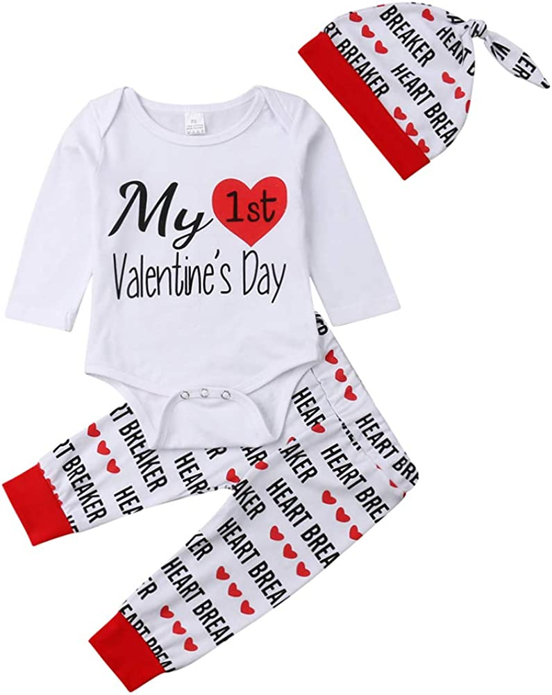 Bowanadacles Newborn Infant Baby Boys Girls My First Valentine's Day Outfit Long Sleeve Romper Heart Breaker Pants with hat