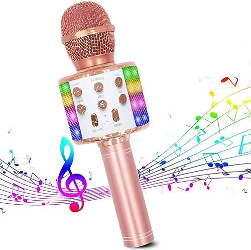 Microphone Sans Fil Karaoké, Micro Bluetooth Lecteur karaoké Portable 4 en 1 avec lumières LED dansantes compatibles ...