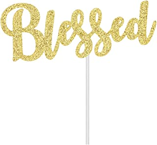 Gold Glitter Blessed Cake Topper, Baptism/Christening/Confirmation/Baby Shower/Birthday/Communion Party Decoration
