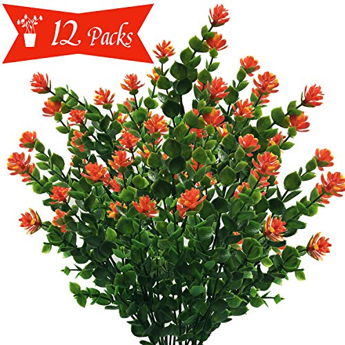 Single Dog Artificial Flowers Outdoor 12 Packs, UV Resistant Plants Faux Plastic Indoor Outside for Patio Window Box Indoor Outside Hanging Planter Garden Decor