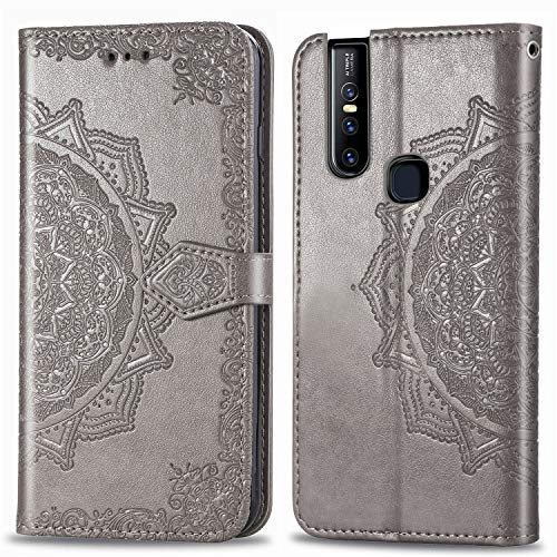 Leather Wallet Case for Vivo V15Pro PU Leather Magnetic Flip Cover with Card Slots Holders Bookstyle Wallet Case for Vivo V15 Pro - JESD012370 Grey