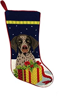 Animal Den German Shorthaired Pointer Christmas Stocking 100% Needlepoint Hand Stitched Wool