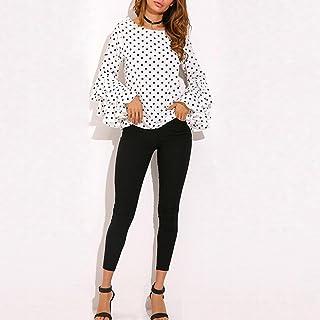 e478e6c2125fd Paymenow Women s Ruffle Long Sleeve Loose Polka Dot Shirt Ladies Casual  Blouse Top