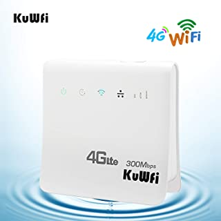 KuWFi 4G WiFi Router Unlocked 300Mbps LTE CPE Mobile WiFi Wireless Routers Work with Optus/Telstra/Virgin Mobile/Vodafone SIM Card Support 32 Users with AU Plug