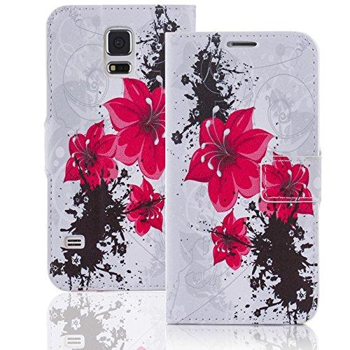 numerva Handyhülle kompatibel mit Huawei Ascend G7 Hülle [Red Flower Muster] Case Ascend G7 Handytasche