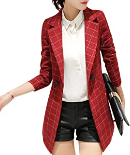 9aa018356bc Womens Fashion Work Office Long Sleeve One Button Plaid Medium-Long Blazer  Jacket Suit With