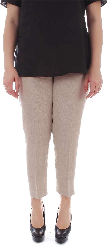 Marina Rinaldi Women's 21321990BEIGE Beige Linen Pants